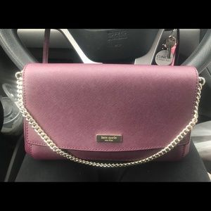 Kate Spade burgundy gold chain crossbody bag